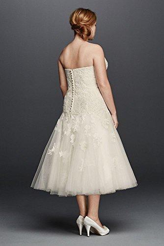 Lace short oleg cassini tea length plus size wedding dress for Oleg cassini wedding dress tea length