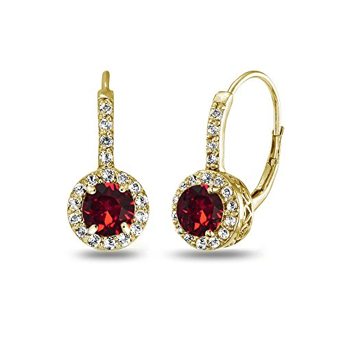 Yellow Gold Flashed Sterling Silver Halo Leverback Drop Earrings created with Swarovski Crystals