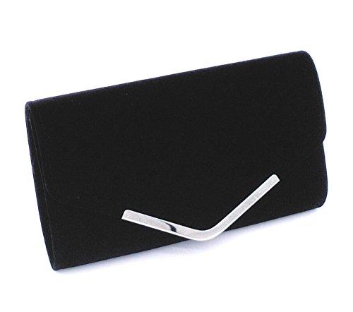 main Fête de Sacs Embrayage Portefeuille Mariage Velours à Envelopper Sac noir Femmes B7qE8w