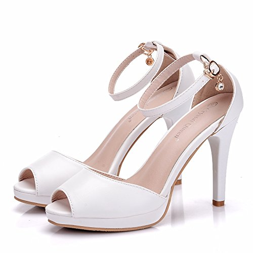 Women's Shoes Fashion Sweet White one Word Buckle Platform High Heel Fishnet Stiletto Sandals White XvVAWxb