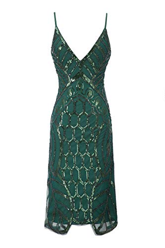 Metme Women's Deep V Neck Sexy Straps Party Dress Vintage Sequin Evening Prom Club