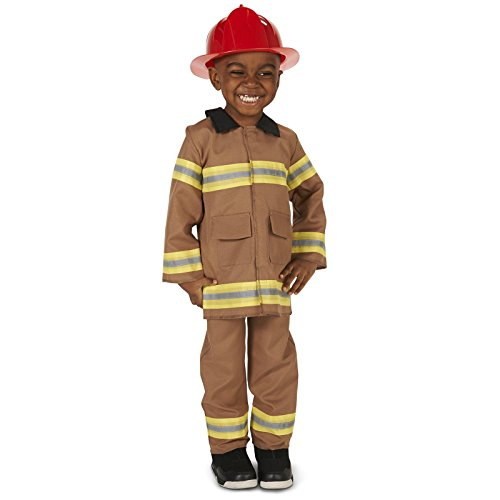 Tan Firefighter with Helmet Toddler Dress Up Costume 2-4T (Firefighter Girl Costumes)