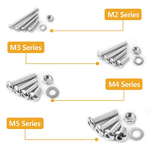 VIGRUE M2 M3 M4 M5 Stainless Steel Screws and Nuts Flat Washers 1080 Pcs Hex Button Head Cap Assortment with 4 Wrenches