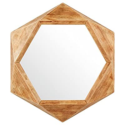 Rivet Modern Hexagon Wood Frame Hanging Wall Mirror, 30 Inch Height, Natural - An on-trend hexagonal shape is softened by a wood frame with a warm, variegated finish. Hang anywhere you want to add an element of fun and style. Modern shape softened by warm, distressed-look wood finish Glass, solid rubber wood with distressed finish - bathroom-mirrors, bathroom-accessories, bathroom - 414vzROB51L. SS400  -