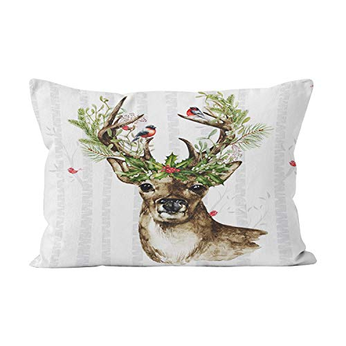 Suklly Birch Tree Forest a Woodland Christmas Deer Hot Hidden Zipper Home Decorative Rectangle Throw Pillow Cover Cushion Case 12x24 Inch Lumbar One Side Design Printed - Birch Antler Faux