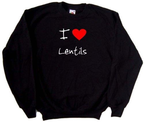 I Love Heart Lentils Black Sweatshirt (White print)-XXX-Large