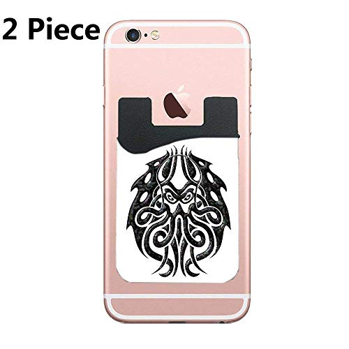 (TysoOLDPhoneC Sleeper Beneath Cell Phone Stick On Wallet Card Holder Phone Pocket for All Smartphones - Black - 2 Piece)