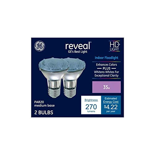 - GE Reveal 2-Pack 35-Watt Dimmable Color-Enhancing Par20 Halogen Appliance Light Bulbs
