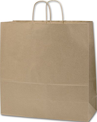 Solid Color Pattern Shopping Bags - Recycled Kraft Paper Shoppers Jumbo, 18 x 7 x 19'' (200 Bags) - BOWS-14-180718-RK by Miller Supply Inc