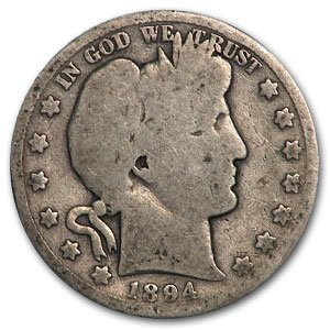 1894 S Barber Half Dollar AG Half Dollar About Good