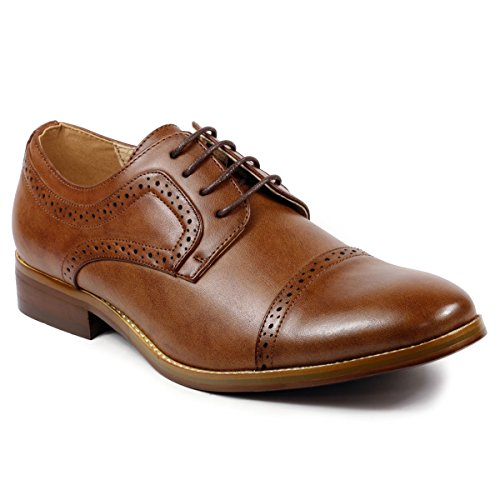 Metrocharm MC601 Men's Lace Up Cap Toe Perforated Classic Dress shoe (13, Brown)