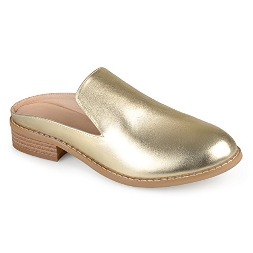 Journee Collection Womens Faux Leather Slide-On Mules Gold