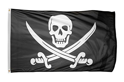 Time Roaming 3x5 Ft Pirate Jack Rackham Polyester Flag with Brass - Van Tread Cross