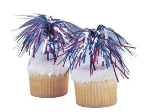 Pack of 36 - 4th of July Mylar Spray Pic Cupcake (Cupcake Pics)