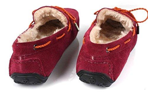 Santimon-warm Warm Mens Mens Genuino In Pelle Nabuk Outdoor Basse Scarpe Da Barca Mocassini Slipper Rosso
