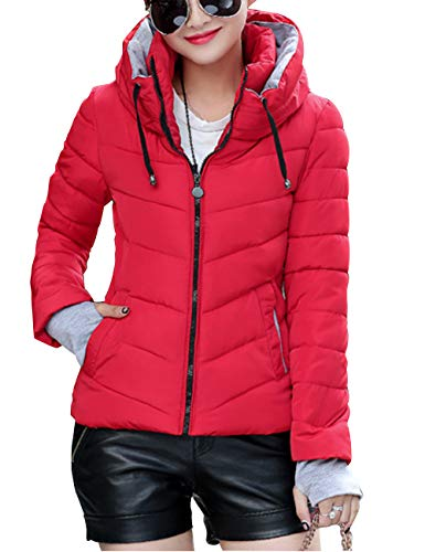 Mittens Casual fit Coats Hooded Jacket Womens Outerwear Down Winter with Thick Slim BESBOMIG Fashion Cotton Red Warm w7q1ZUxUA