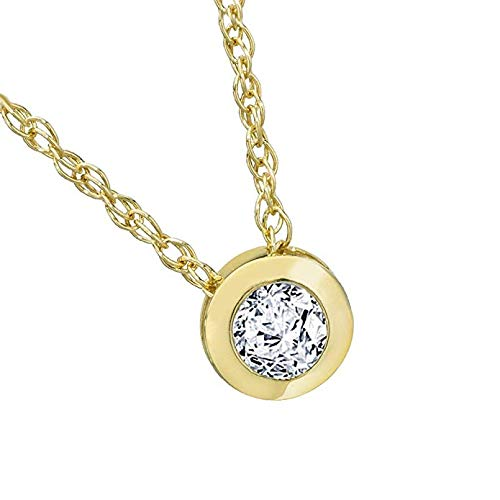 14K Yellow Gold Over Brilliant Round Cut Bezel Set Highest Quality Moissanite VVS-VS Solitaire Pendant For Women