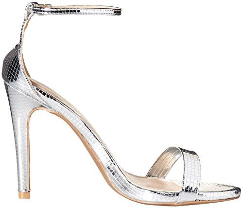 Qupid Women's Grammy-01 Heeled Sandal Silver Texture u5yufNW5s