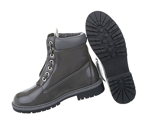 Damen Schuhe Stiefeletten Schnür Boots Grau