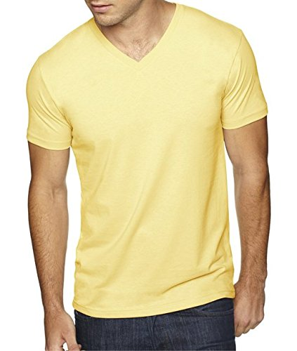 - Next Level Apparel 6440 Mens Premium Fitted Sueded V-Neck Tee - Banana Cream, Small