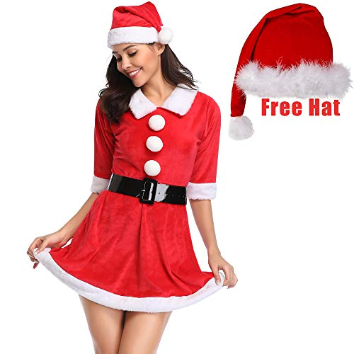 CROSS1946 Mrs. Claus Costume Christmas Dress Party Fancy Baby Santacon Outfits Red M