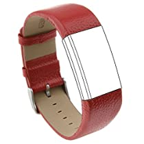 Austrake Genuine Leather Wristbands Replacement Bands For Fitbit Charge 2 Smart Watch,6-8.5