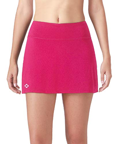 Naviskin Women's Active Athletic Skort Lightweight Skirt with Pockets Inner Shorts Perfect for Running Golf Tennis Workout Casual Use Rose Red Size XL