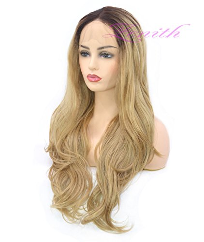 Zenith Dark Brown Rooted Light Blonde Lace Front Wigs for Women Best Synthetic Hair Wavy Wig with Flawless Hairline 24 inches Heat Safe by Zenith (Image #3)