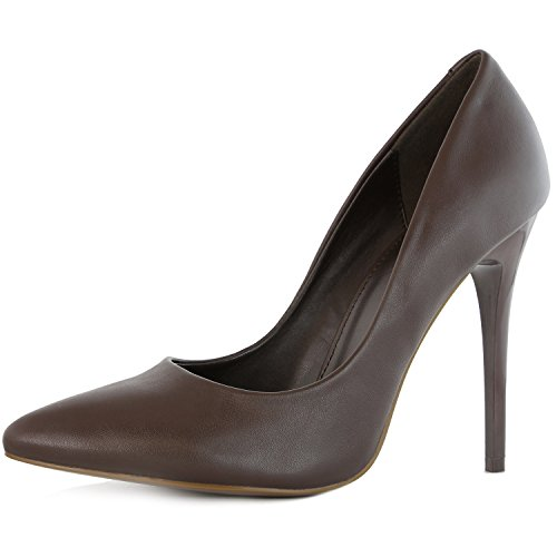 - DailyShoes Women's Classic Fashion Stiletto Pointed Toe Pairs-01 High Heel Dress Pump Shoes -Perfect for Formal and Dinner Wear, Brown PU, 7 B(M) US
