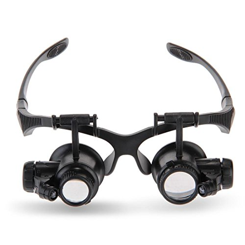 Loupe Tools,10X 15X 20X 25X LED Lights Glasses Magnifier Jeweler Watch Repair,Glasses Optical Lens Magnifier With 2 LED ()