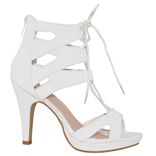 Up Collection Sandals Lace Fashion White Gladiator TRENDSup Women 8fWXTqR8Z