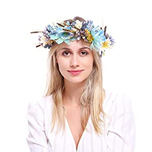 DDazzling Nature Berries Flower Crown with Floral Wrist Band for Wedding Festivals (Blue and Green) 29