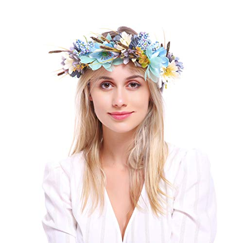 DDazzling Nature Berries Flower Crown with Floral Wrist Band for Wedding Festivals (Blue and Green)