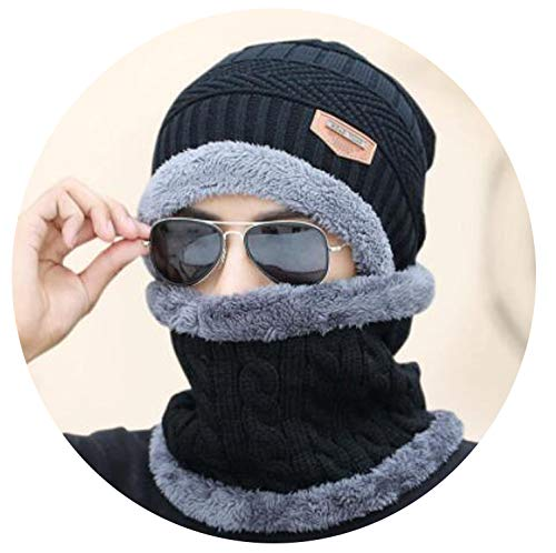 Winter Women Men's Skullies Wool Knitted Balaclava Cap Ninja Mask Thermal Plush Pocket Hat Unisex,Black