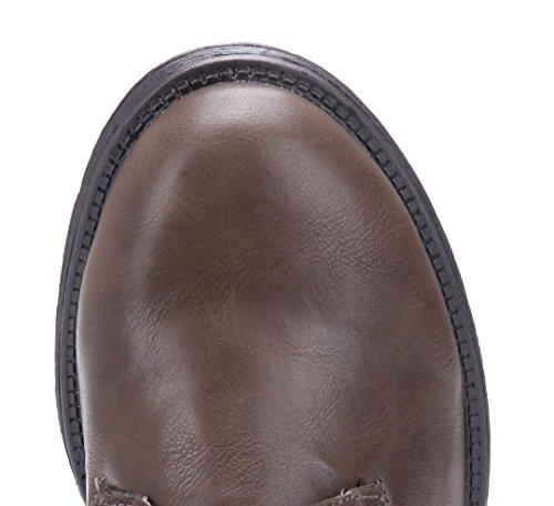 Schuhtempel24 Damen Schuhe Klassische Stiefeletten Stiefel Boots Blockabsatz Druckknöpfe 4 cm Khaki