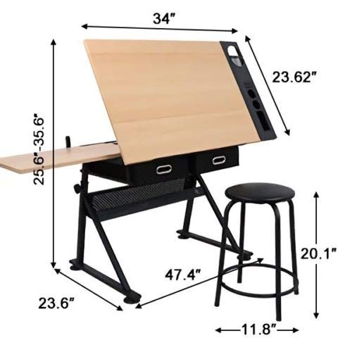 Tilting Tabletop Height Adjustable Drawing Desk with Padded Stool 2 Spacious Drawers Tools Storage Painting Drafting Writing Reading Study Table Draftsman Art Craft Hobby Studio Architect Office Work by HPW (Image #2)