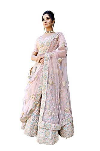 Indian Women Designer Partywear Ethnic Traditional Crepe Pink Lehenga Choli.