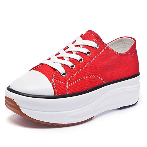 Soklay Women's Canvas Low Top Sneaker Lace-up Casual Walking Shoes Platform Pump Fashion Comfortable Tennis Sneakers (10 B(M) US, Red)