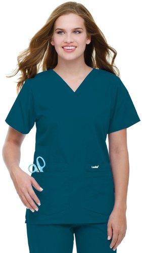 (Landau Women's 4 Pocket V-Neck Scrub Top, Caribbean Blue, X-Small)
