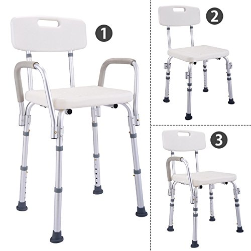 Ortho Stand Mat (6 Height Adjustable Medical Shower Chair Stool Bath Tub w/ Back & Armrest New)