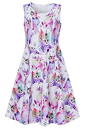 Summer Colorful Cat Dresses for Little Kids Gilr 4 5 Years Old 3D Floral Printed Red Yellow Kitty with Unicorn Stars Twirly Sleeveless Midi Long Fancy Cami Dress in Dance Party Holiday Casual Sundress