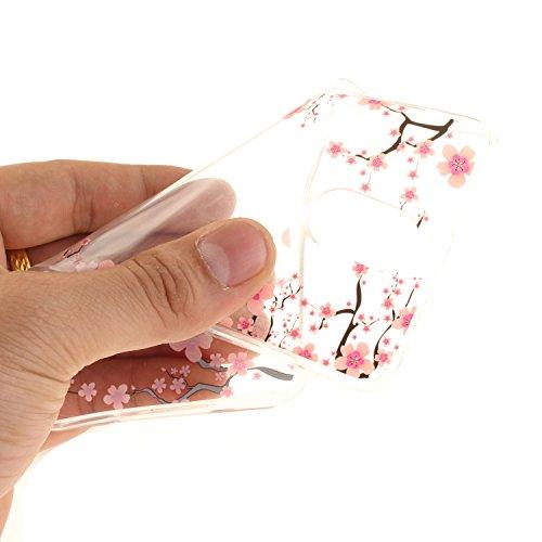 Caja Transparente de Lenovo P1M, MAGQI Flexible y Durable del gel de TPU a Prueba de Choques [Anti-Rasguñe] Tope de la Absorción y, [Pluma Negra Libre de la Aguja]-Girasol Flor del ciruelo