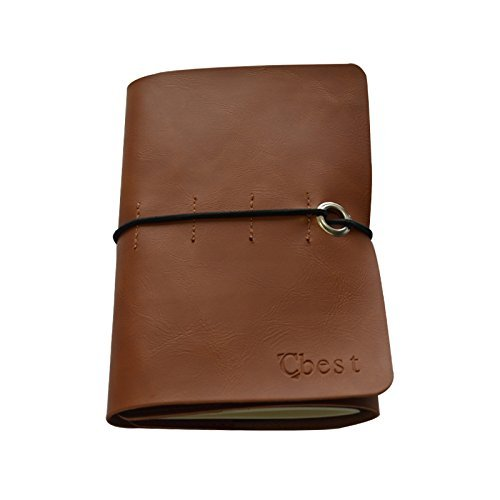 LENMO Leather Journal Writing Notebook Vintage Handmade Leather Journal Notebook Refillable Retro Leather Cover Notebook Notepad Jotter Diary Journal Workbook (Coffee)