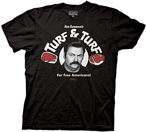 Parks and Rec Ron Swanson Turf and Turf T-Shirt (XXL, Black)