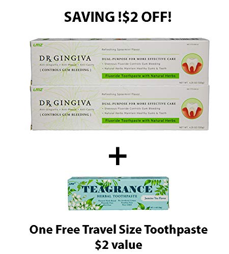 SAVING! $2 OFF Plus 1 free toothpaste! Dr. Gingiva Gum Bleeding Treatment, Excellent Results for Gingivitis and Periodontitis, Herbal Toothpaste with Fluoride, 4.25oz 2 Counts (0 Shipping) (Best Treatment For Inflamed Gums)