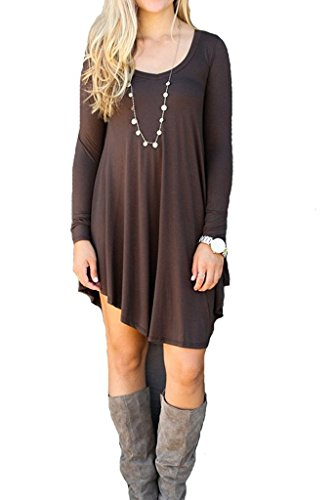 Cute Brown Dress (Ladylala Women's Long Sleeve Casual Loose Tunic T-Shirt Party Dress Coffee L)