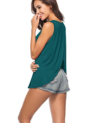 Yucharmyi Women's Open Back Blouse Workout Tops Sexy Backless Tank Summer Tank Tops Active Tank Top Backless, 7780-darkgreen, Small