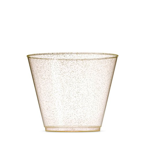 100 Glitter Plastic Cups - 9 Oz Clear Plastic Cups Old Fashioned Tumblers -Gold Glitter Cups Disposable Wedding Cups Party (Plastic Party Tumblers)