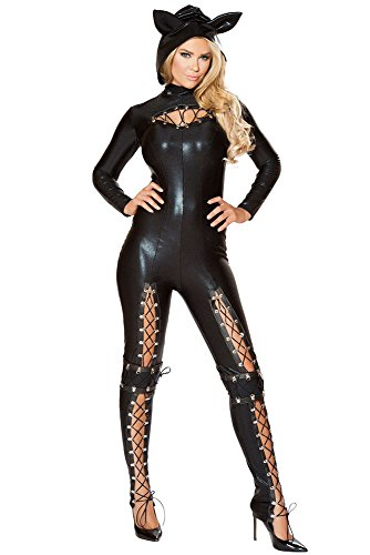 Sexy Costumes Couples Ideas (Women Adult Party Fancy Sexy Frisky Cat Cosplay Halloween Costume Jumpsuit Lace-up)