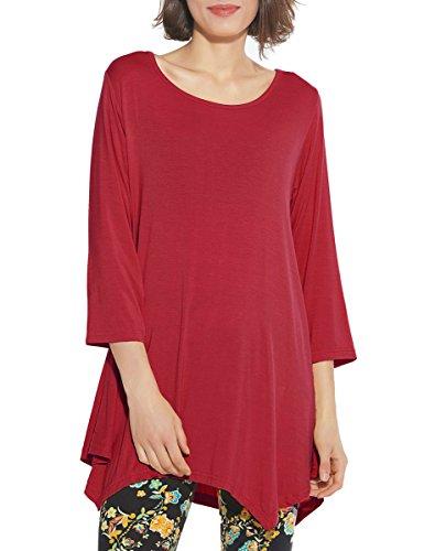 (BELAROI Women 3/4 Sleeve Swing Tunic Tops Plus Size T Shirt (1X, Wine Red))